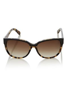 Kate Spade New York at Simons   Cat eye style redesigned with a metallic front rim   Tortoiseshell frame   Graded brown tinted lenses   100% UV protection   Rigid designer case and small cleaning cloth included