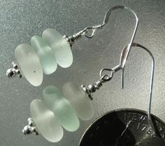 Sterling Silver Seafoam & White Sea Glass Earrings by HLSEAGLASS on Etsy