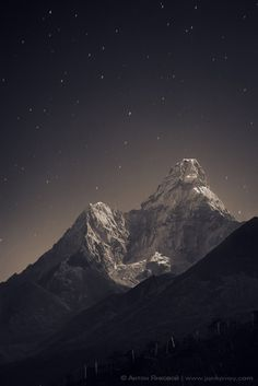 Mt. Everest at night.  Probably the closest you can get to the stars with out flying,