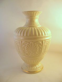 Lenox Tall Athenian Vase Ivory with Gold Accents Signed Discontinued #Athenian