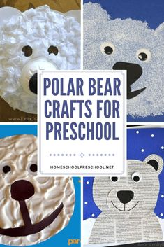 Winter is a great time of year to study polar bears with your little ones. When you do, add one or more of these polar bear crafts for preschoolers! Bear Crafts Preschool, Kindergarten Crafts, Toddler Crafts, Cute Polar Bear, Polar Bears, Winter Activities For Kids, Christmas Crafts For Kids, Puppet Crafts, Paper Plate Crafts