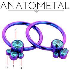 Anatometal Titanium Bezel-Set Captive Gem Cluster Ring 16g 14g 12g 10g 8g [AnatoCaptiveGemClustr16g14g12g10] - $88.99 : Diablo Body Jewelry, The Art of High Quality