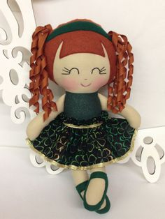 An Irish Pretty!! Handmade Dolls Fabric Doll  St Patricks Day Doll by SewManyPretties, $45.00