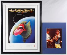 Lot 670: Mick Jagger and Keith Richards Autographed Rolling Stones Memorabilia; Two items including a color photo print with two autographs in black marker and a 1994 limited edition #185/5000 reproduction print of the Rolling Stones 1973 Australian tour poster with printed signatures and a COA from Musicom, International en verso