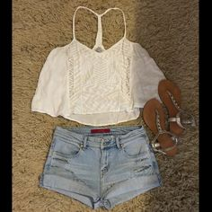 "Ecote M white sheer T-Back Crop top 100% rayon-17"" (arm pit to arm pit)- 22"" ( top shoulder strap down to bottom of hem) Urban Outfitters Tops Crop Tops"