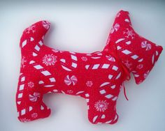 Red Candy Cane Scottie Dog Primitive Holiday Scotty $12 by DesignsbyChristine