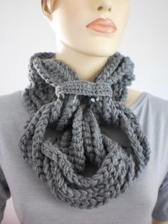 Crochet Grey Loop Chain Scarf with  removable chain - Cowl Scarf - Neck Warmer. $55.00, via Etsy.