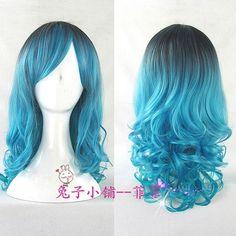 fashion cosplay party lolita wig women full long curly wavy blue mix hair wigs #FullWig