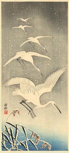 RP: Ohara Koson - Egrets Home Coming Japanese Prints, Japanese Design, Japanese Artwork, Japanese Woodcut, Art Chinois, Woodblock Print, Shin, Chinese Painting, Japanese Painting