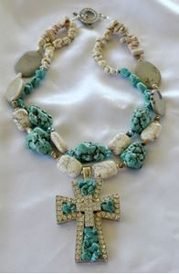 Picture of Turquoise and White Howlite Double Strand Necklace