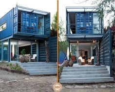 A great example of how four shipping containers can be turned into low cost, sustainable housing.