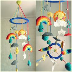 Reserve for Cora - Baby mobile - Baby Crib Mobile - Nursery Mobile - Mobile - Crochet Mobile - The weather man Crochet Baby Mobiles, Crochet Mobile, Crochet Baby Toys, Crochet For Kids, Crochet Dolls, Free Crochet, Baby Crib Mobile, Baby Cribs, Crochet Projects