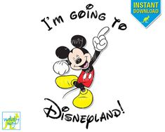 Items similar to I'm Going to Disneyland! Printable Iron On Transfer with Mickey Mouse or Use as Clip Art Mickey Mouse Halloween, Shirts For Teens Boys, Disney Shirts For Family, Disney Diy, Disney Trips, Disney Ideas, Disney Cruise, Disney Stuff, Walt Disney