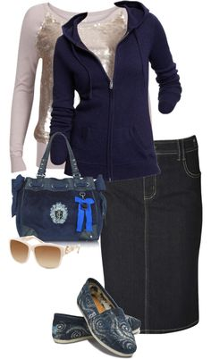 Stitch Fix: I really like the denim skirt, the pencil cut, the length and the color. I like the top as well, but not the hoodie. I do not like hoodies at all. Modest Wear, Modest Outfits, Cool Outfits, Casual Outfits, Modest Clothing, I Love Fashion, Modest Fashion, Autumn Fashion, Fashion Outfits