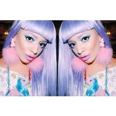 Pony Marabou puff earrings~made by me! Pony necklace~made by me as well! #diy #handmade #ponies #pastel #makeup #lilachair #everlastingliquidlipstick #motd