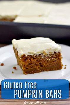 This recipe for Gluten Free Pumpkin Bars makes a delicious, flavor-packed dessert. The unadorned pumpkin bars are terrific on their own, but top them with cream cheese frosting and they're irresistible! Gluten Free Pumpkin Bars, Gluten Free Bars, Gluten Free Deserts, Gluten Free Muffins, Gluten Free Sweets, Gluten Free Baking, Pumpkin Cake Recipes, Pumpkin Dessert, Pumpkin Bread