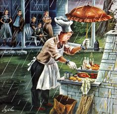 Cookout in the Rain, art by Constantin Alajalov. Detail from July 1951 Saturday Evening Post cover. Retro Barbecue, Fair Weather Friends, Gravure Illustration, Illustration Art, Pop Art, Rain Art, Saturday Evening Post, Singing In The Rain, Norman Rockwell