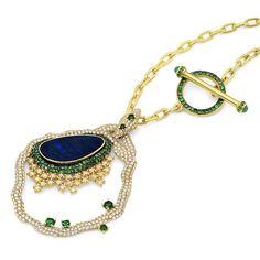 Black Opal Pendant Necklace   #MichaelJohnJewelry #flashesofdelight