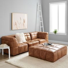 Build Your Own - Baldwin Sectional #pbteen Leather Ottoman, Leather Sectional, Sectional Sofa, Couches, Oversized Ottoman, Clean Sofa, Ottoman In Living Room, Living Rooms, Square Ottoman