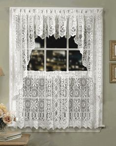 Hopewell Lace Kitchen Curtains – Cream – Lorraine - Country Kitchen Curtains