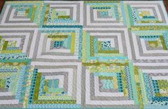Hyacinth Quilt Designs - love the modern take on the log cabin and I love the blue & green.