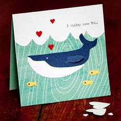 Aquatic Valentine's Day Card. Add various types of whales. Use the Goldfish crackers for the little fish, and heart confetti for the hearts (duh). Let the students add their own message to the inside, or brainstorm for fishy ideas.