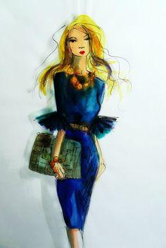 fashion illustration/ beautiful fashion art. Deep Blue dress art print by Ros Webb by LuvBeautiful on Etsy