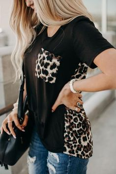 Presale - Leopard Printed Splicing T-Shirt Tee without Necklace - Black - Bellelily Leopard Outfits, Leopard Fashion, Leopard Clothes, Leopard Shirt, Fashion 2020, Tee Shirts, Cute Outfits, Fashion Outfits, Style Fashion