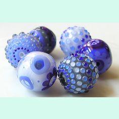 The Good Dishes - 6 beads - lampwork by Sarah Moran