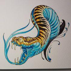 No photo description available. Japanese Snake Tattoo, Japanese Tattoos For Men, Japanese Tattoo Designs, Traditional Japanese Tattoo Flash, Fantasy Tattoos, Satanic Art, Snake Art, Japan Tattoo, Oriental Tattoo