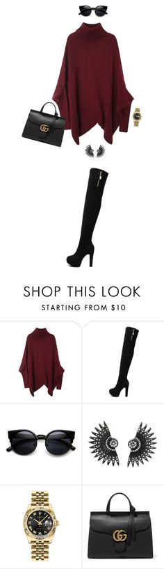 """""""Untitled #556"""" by mallika-chawla ❤ liked on Polyvore featuring Rolex, Gucci, women's clothing, women's fashion, women, female, woman, misses and juniors"""