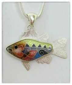 "Michael Romanik | Small Perch Pendant - cloisonne' enamel, fine silver, sterling silver - 1.25"" wide."