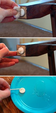 """Here is a tip for keeping felt pads on the botton of your tables & chairs using epoxy glue by """"Take the side street"""""""
