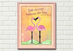 Printable inspirational Wall art - Flamingos
