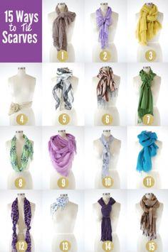 15 Ways to Tie a Scarf  #fashion