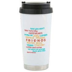 Friends TV Show Travel Mug -- Colorful Friends Sitcom Word Collage Stainless Steel Mug