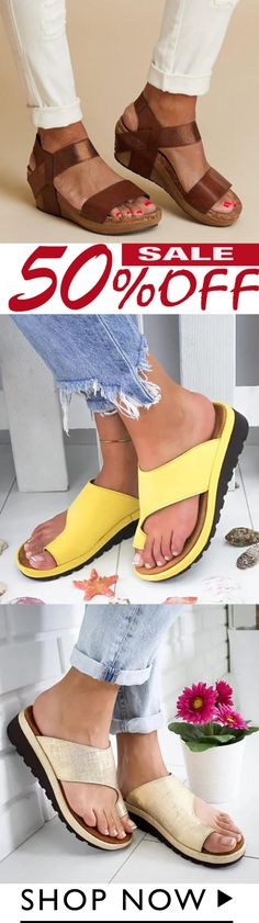 Summer Women Comfy Wedges Platform Sandals Slippers Latest Fashion For Women, Latest Fashion Clothes, Fashion Shoes, Fashion Outfits, Yellow Sandals, Summer Shoes, Summer Wear, Cute Sandals, Me Too Shoes