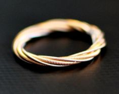 Guitar String Ring, Different Strings Twisted Together, Any Size