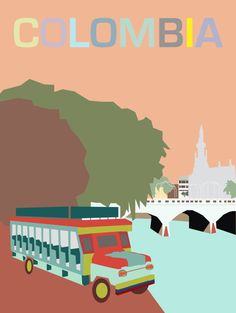 Colombia Cali poster by MinimaDesign on Etsy Cali Colombia, Colombia Tourism, Colombian Art, Eco Label, Tourism Poster, Room Posters, Vintage Travel Posters, Photos Du, Belle Photo