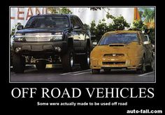 "Off Road Vehicles... definition of ""Pavement Princess"".  Which of these two vehicles fits the aforementioned definition?"