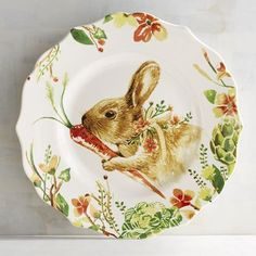 What better way to create a spring-inspired setting than with a bunny plate on top? Our porcelain Lilly the Bunny Salad Plate is perfect for Easter dinner and all your springtime entertaining. Featuring Lilly with her favorite carrot, this dinnerware will bring beautiful springtime flowers and vegetables to the table for all to enjoy.