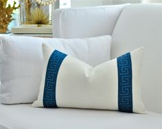 "12""x 20""  Greek Key stripe border linen pillow cover in Navy/Teal on Ivory. $58.00, via Etsy."