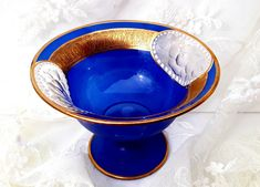 Your place to buy and sell all things handmade Antique Shops, Rare Antique, Cobalt Blue, Blue Gold, Blue Plates, Gold Lace, Antique Glass, Black Glass, Pottery Art