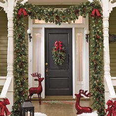 A welcoming Christmas front porch