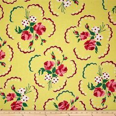 Michael Miller Retro Florals Francis Sunny from @fabricdotcom  Designed for Michael Miller, this cotton print fabric is perfect for quilting, apparel, and home decor accents. Colors include red, green, yellow, white, and shades of pink.