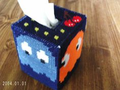 Pacman Ghosts Cherry Atari Plastic Canvas Kleenex Tissue Box Cover Cozy
