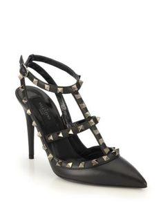 VALENTINO Noir Rockstud Leather Pumps. #valentino #shoes #pumps