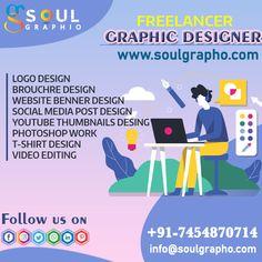 ✍️LOGO DESIGN ✍️BROUCHRE DESIGN ✍️WEBSITE BENNER DESIGN ✍️SOCIAL MEDIA POST DESIGN ✍️YOUTUBE THUMBNAILS DESING ✍️PHOTOSHOP WORK ✍️T-SHIRT DESIGN ✍️VIDEO EDITING 👉Graphic Design Services Design Social, Graphic Design Services, Logo Design, Design Youtube, Photoshop, Video Editing, Shirt Designs, Social Media, Website
