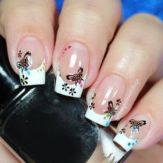 """""""Hi loves! Today a simple mani, I make this french manicure with vinyls from and decorate wit stickers from …"""" Simple Nails, Vinyls, Spring Nails, Beauty Nails, Nail Colors, Nail Art Designs, Swatch, French Tips, Instagram Posts"""