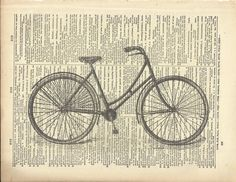 Cute! Beautiful antique girl's bicycle print.